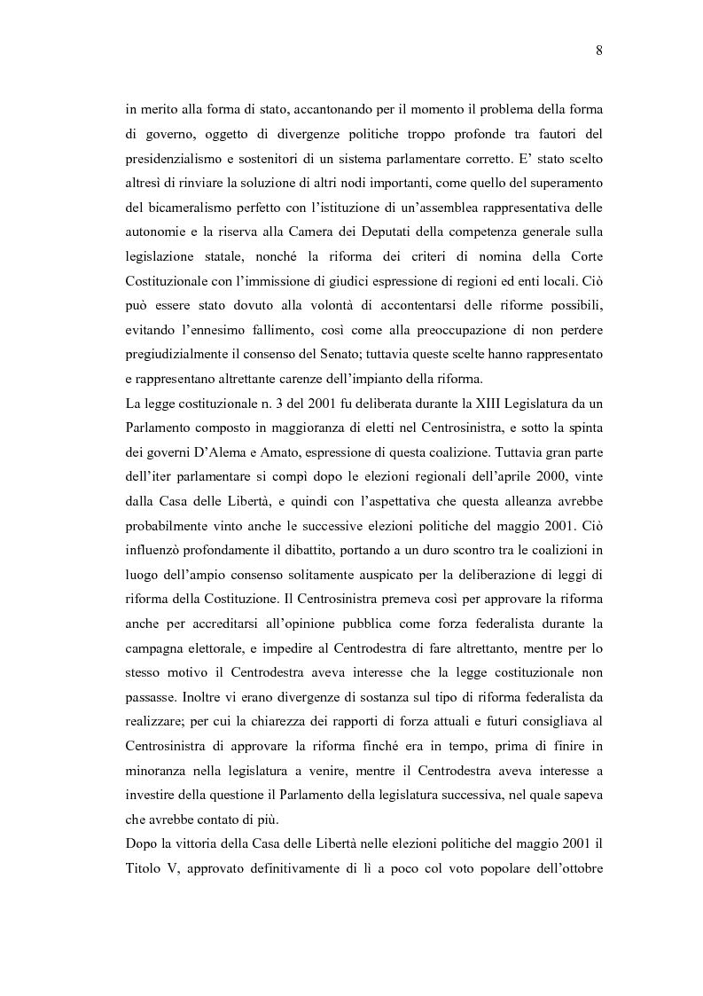 Anteprima della tesi: Verso un'Italia federale. Dalla Riforma del Titolo V al disegno di legge sulla devoluzione., Pagina 5