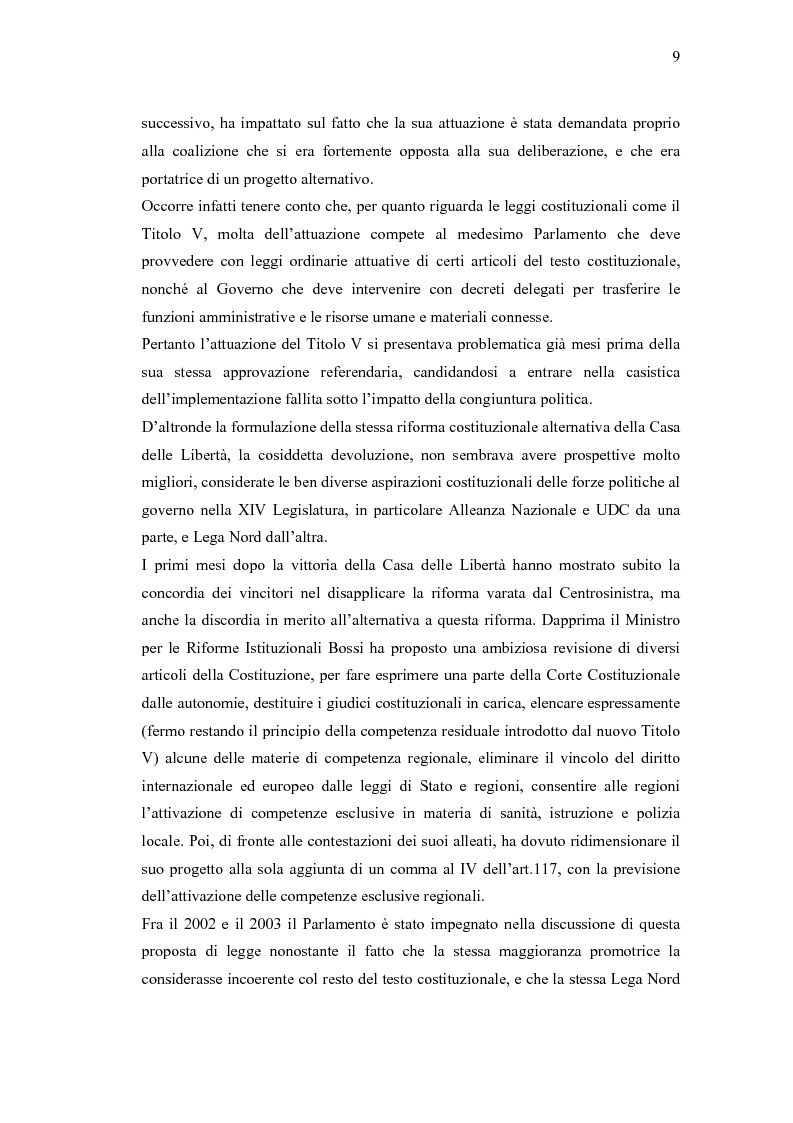 Anteprima della tesi: Verso un'Italia federale. Dalla Riforma del Titolo V al disegno di legge sulla devoluzione., Pagina 6