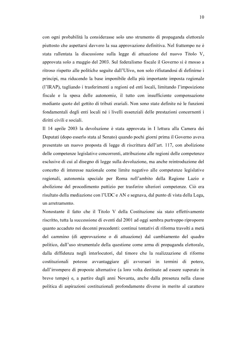 Anteprima della tesi: Verso un'Italia federale. Dalla Riforma del Titolo V al disegno di legge sulla devoluzione., Pagina 7