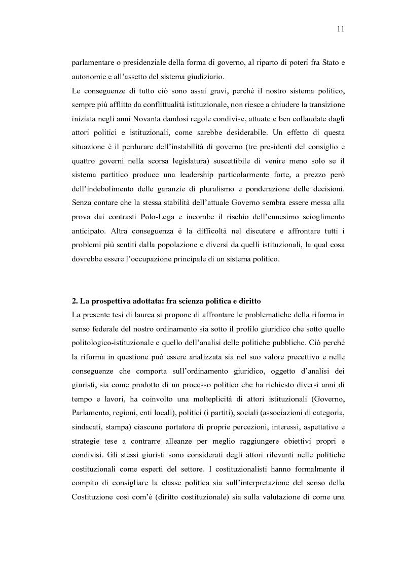 Anteprima della tesi: Verso un'Italia federale. Dalla Riforma del Titolo V al disegno di legge sulla devoluzione., Pagina 8