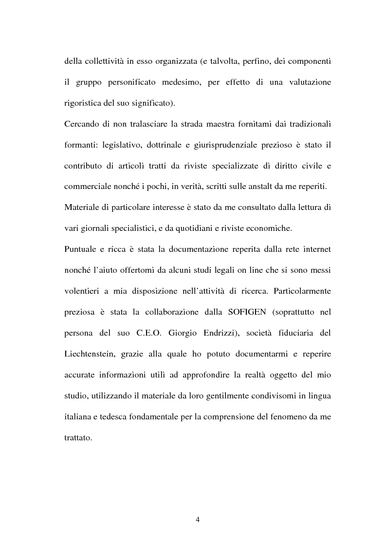 Anteprima della tesi: Personalità e soggettività giuridica. Un caso specifico: ''Le Anstalten''., Pagina 4