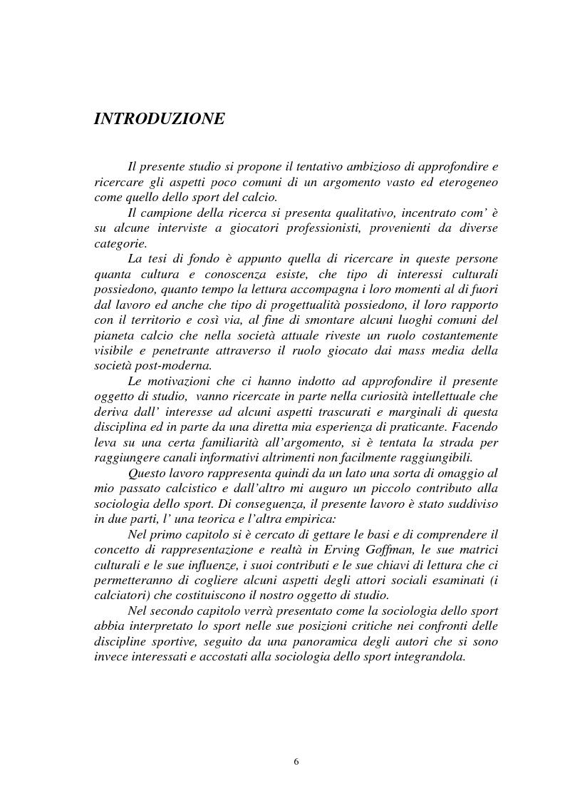 Anteprima della tesi: Il gioco del calcio come fenomeno sociale tra rappresentazione e realtà, Pagina 1