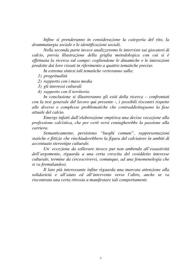 Anteprima della tesi: Il gioco del calcio come fenomeno sociale tra rappresentazione e realtà, Pagina 2
