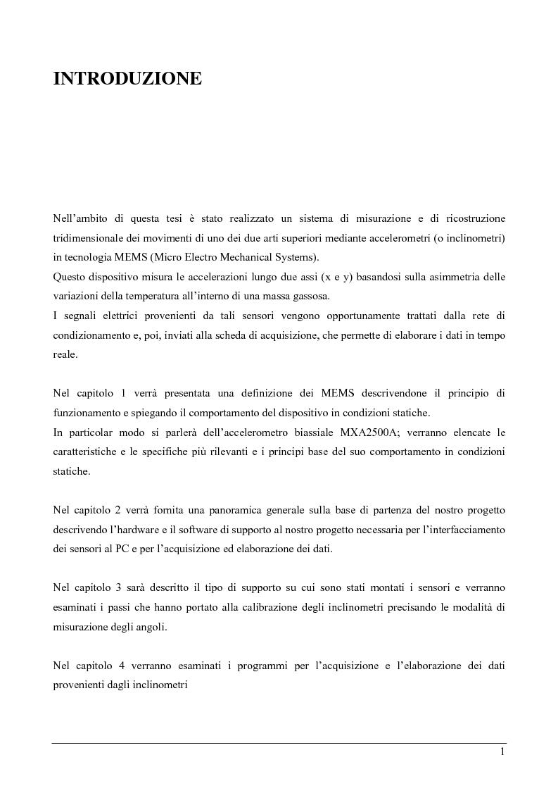 Anteprima della tesi: Ricostruzione tridimensionale mediante accelerometri MEMS, Pagina 1