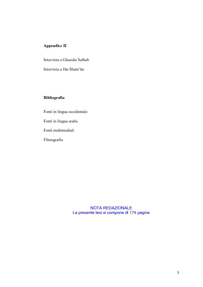 Indice della tesi: Cinema: specchio della società. La guerra civile nei film libanesi, Pagina 3