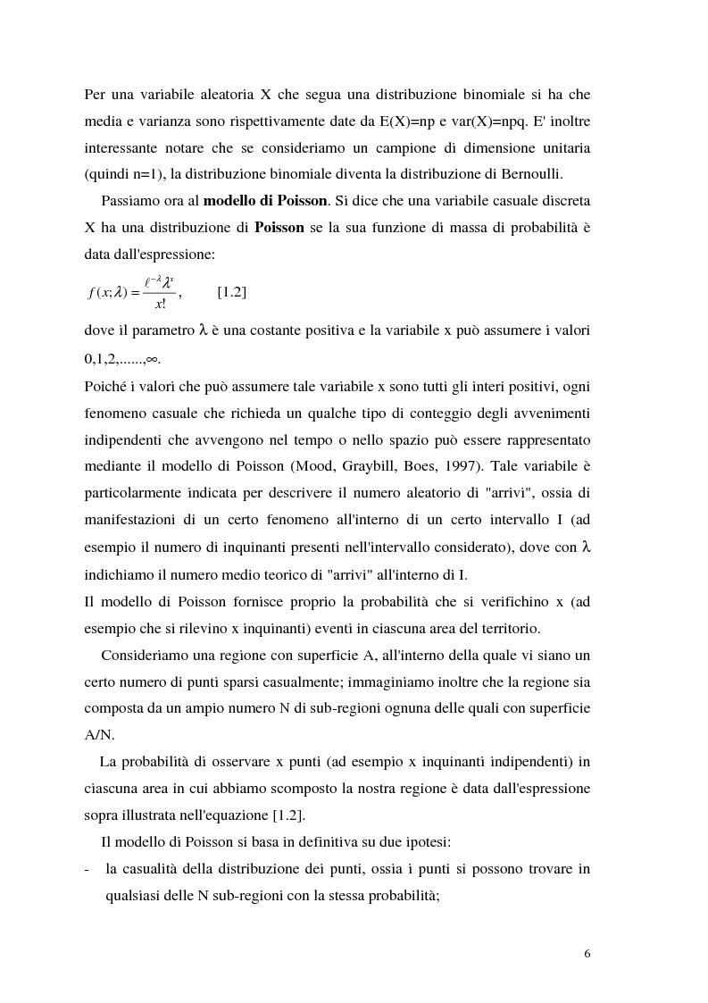 Anteprima della tesi: L'analisi statistica spaziale e lo studio dei problemi di inquinamento ambientale, Pagina 6