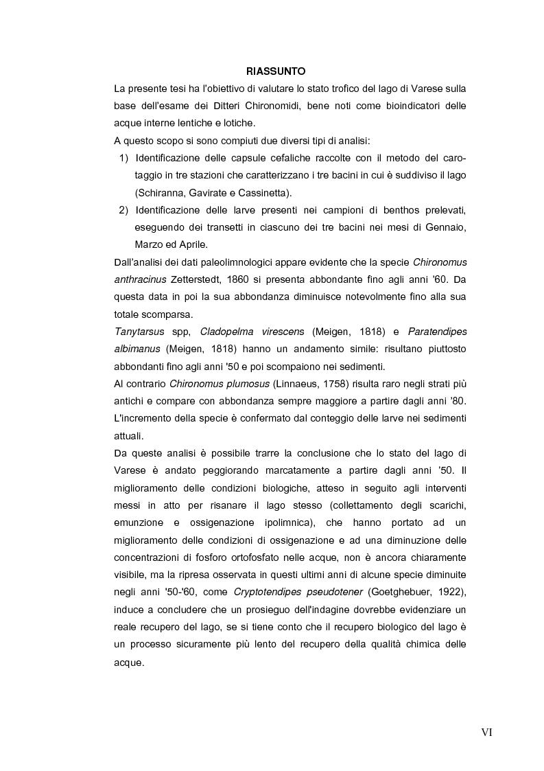 Anteprima della tesi: I Chironomidi (Insecta Diptera) come indicatori dello stato trofico del Lago di Varese, Pagina 1
