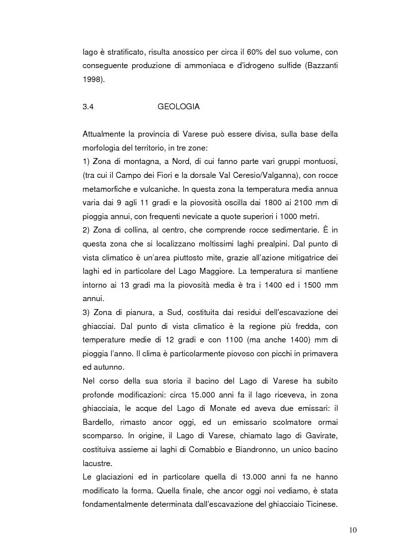 Anteprima della tesi: I Chironomidi (Insecta Diptera) come indicatori dello stato trofico del Lago di Varese, Pagina 11