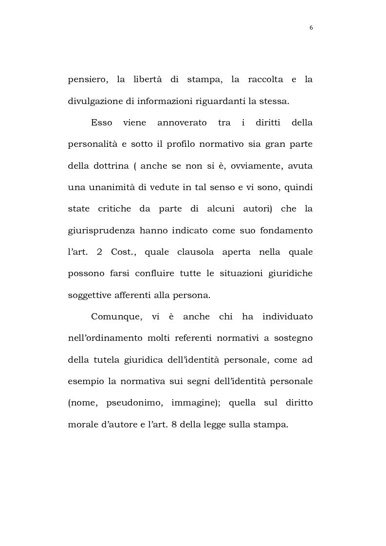 Anteprima della tesi: Il diritto alla identità personale, Pagina 3