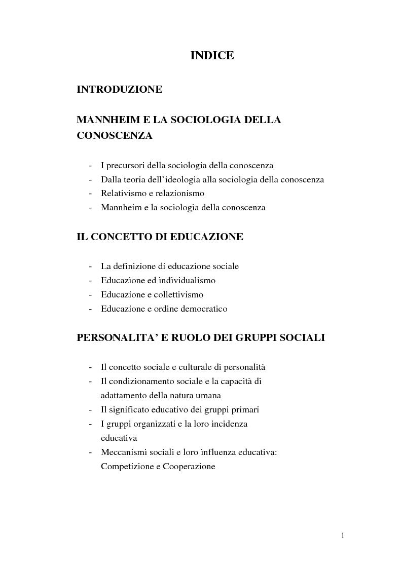 Indice della tesi: Conoscenza ed educazione nel pensiero di Karl Mannheim, Pagina 1