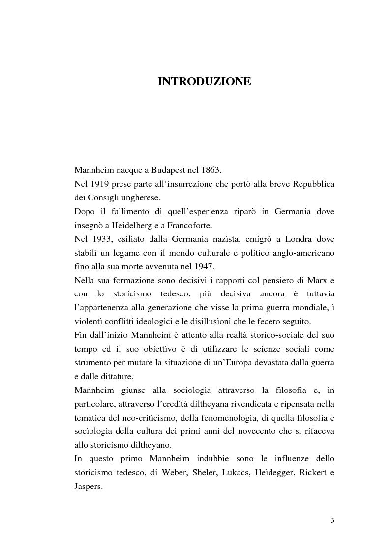 Anteprima della tesi: Conoscenza ed educazione nel pensiero di Karl Mannheim, Pagina 1