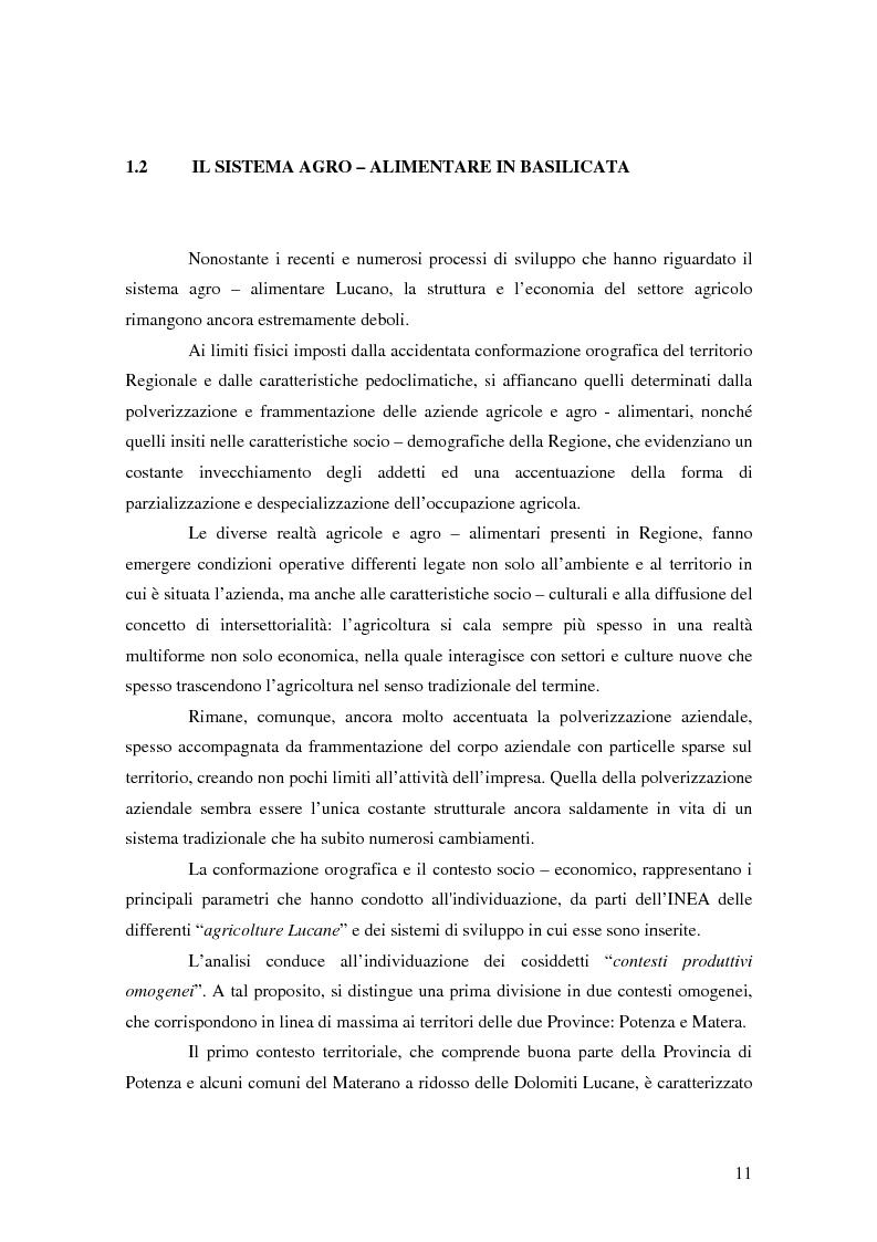 Anteprima della tesi: Il possibile distretto agroalimentare del Vulture - Alto Bradano, Pagina 8