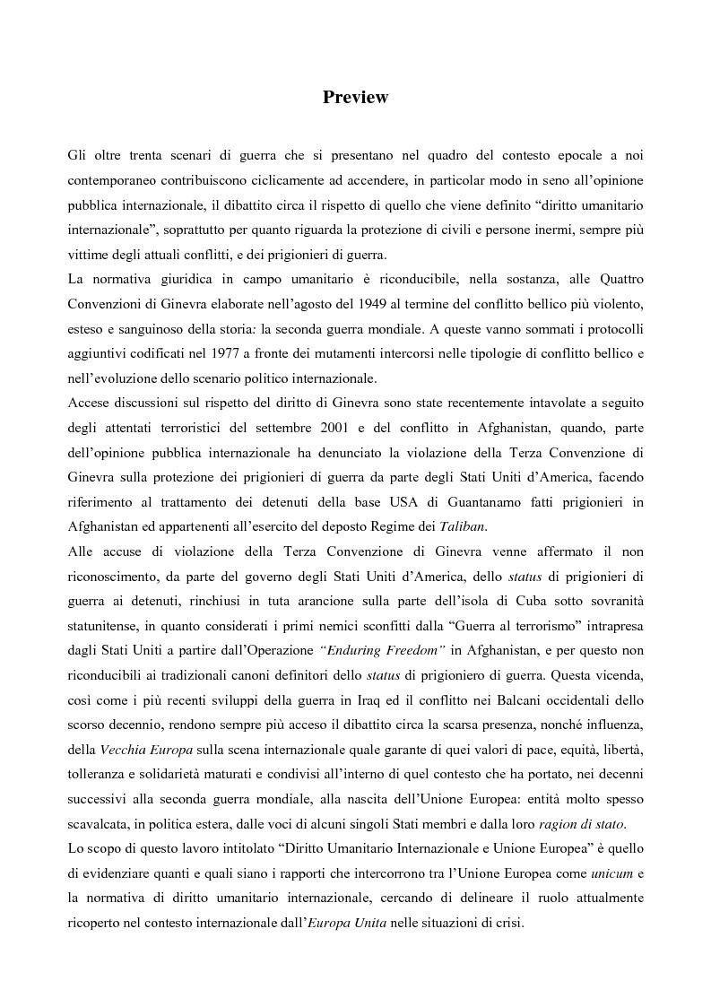 Anteprima della tesi: Diritto Umanitario Internazionale e Unione Europea, Pagina 1