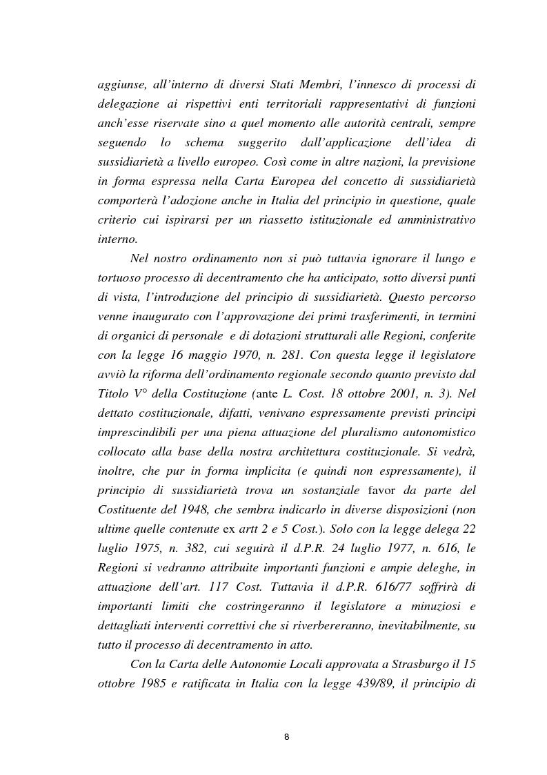 Anteprima della tesi: Il principio di sussidiarietà nel sistema delle autonomie locali, Pagina 3