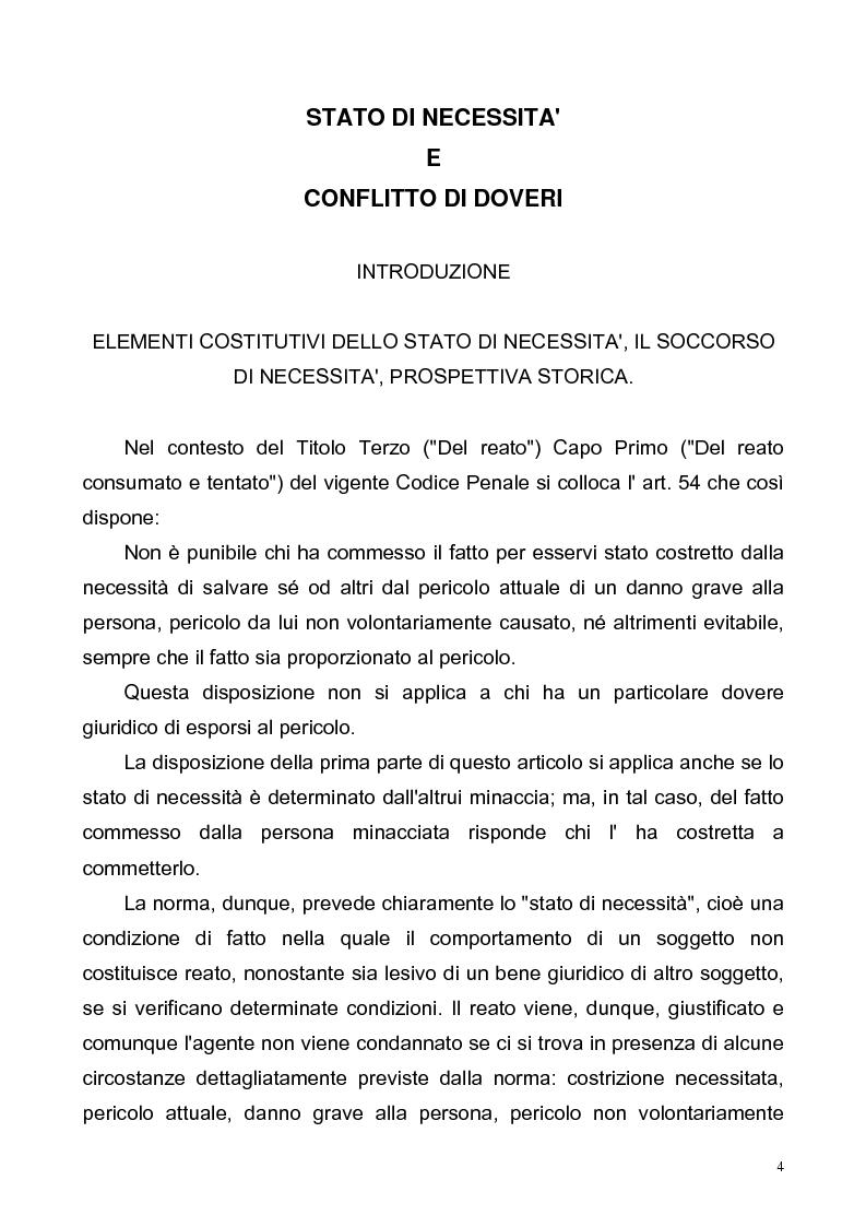 Anteprima della tesi: Stato di necessità e conflitto di doveri, Pagina 1