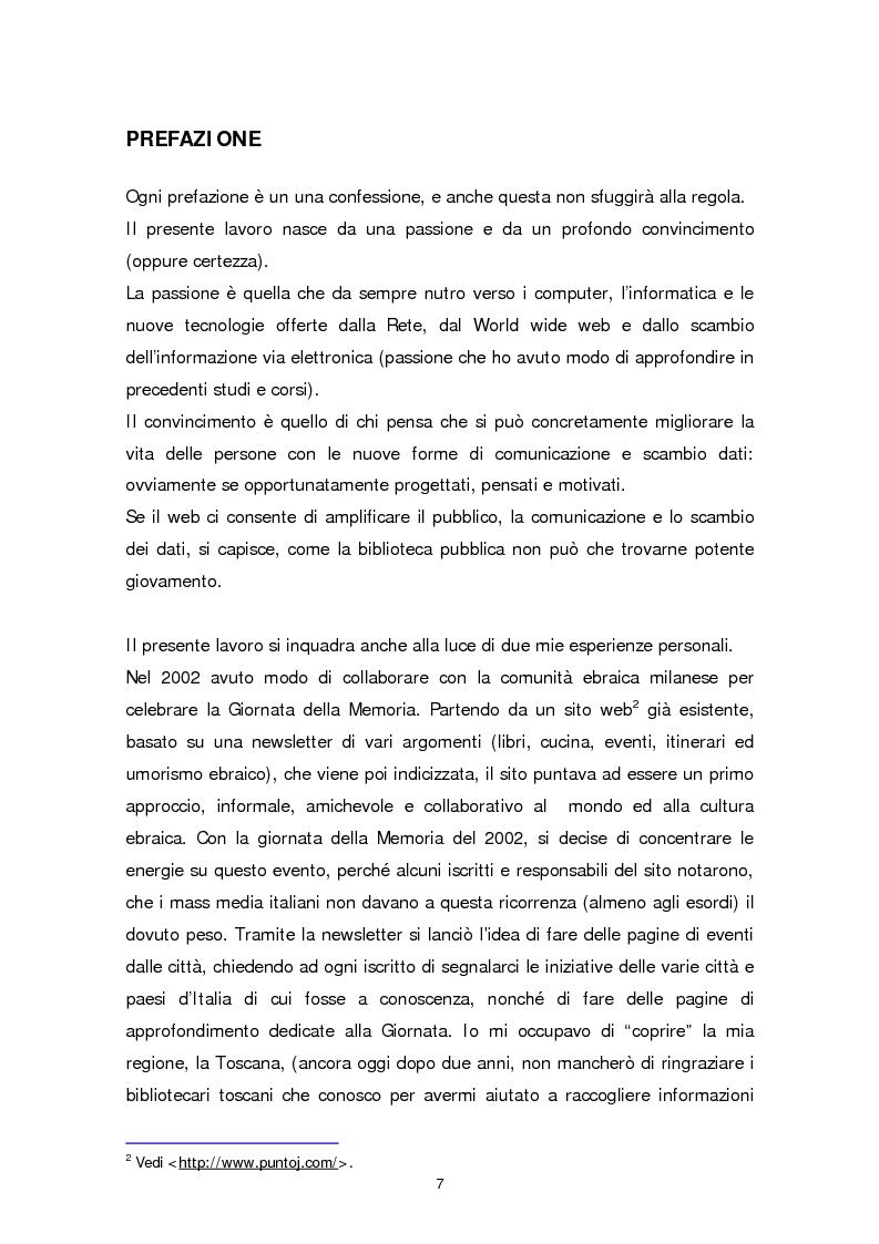 Anteprima della tesi: Il sito web della biblioteca pubblica, Pagina 1