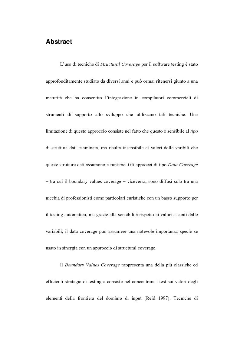 Anteprima della tesi: Boundary Values Software Testing per dati appartenenti ad uno Spazio Metrico, Pagina 1