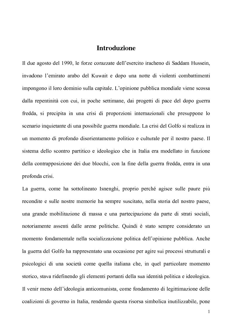 Anteprima della tesi: Un caso di uso pubblico della storia: l'applicazione del paradigma antifascista alla guerra del Golfo del 1991, Pagina 1