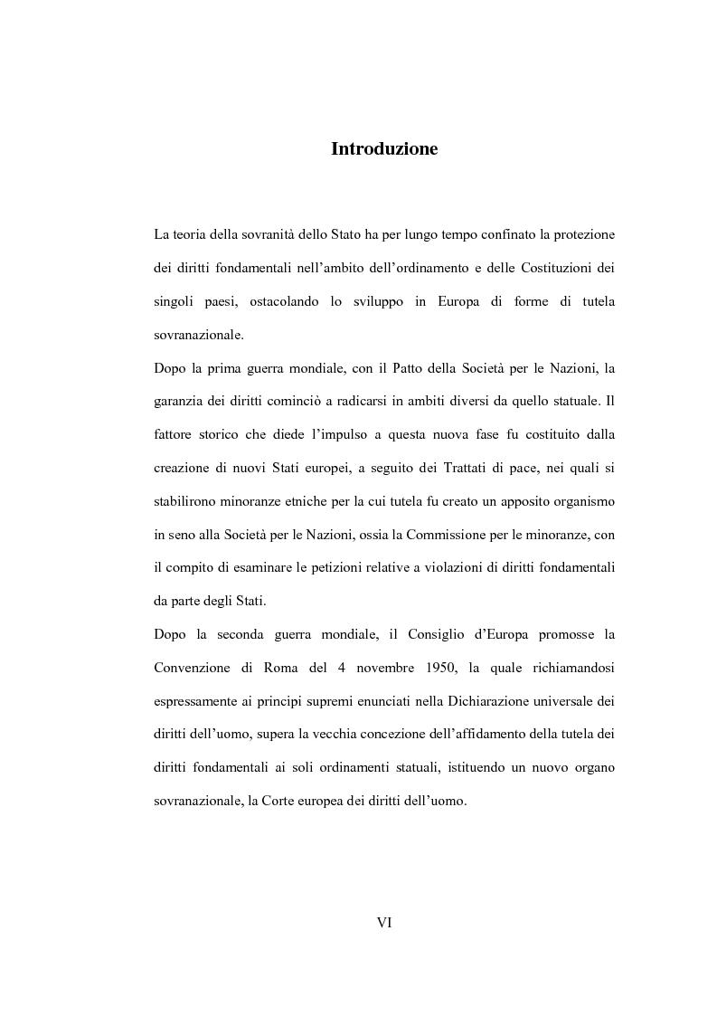 Anteprima della tesi: La tutela giurisdizionale dei diritti fondamentali dell'uomo nell'Unione Europea, Pagina 1