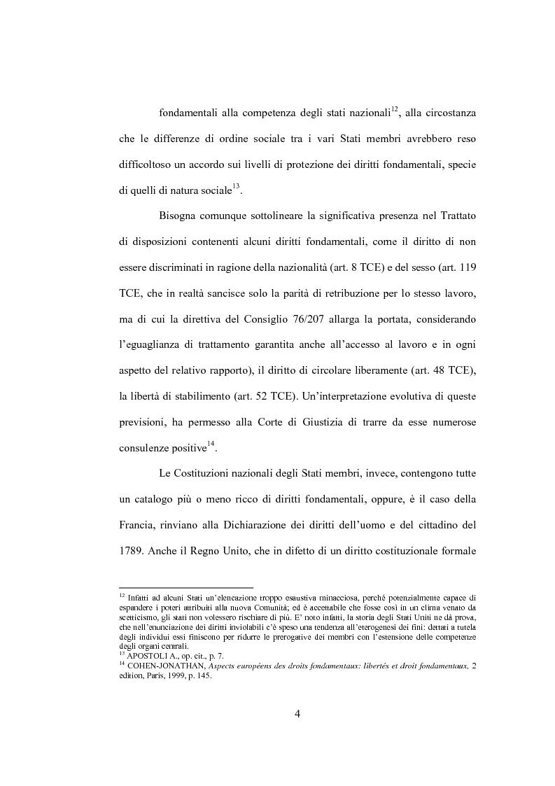 Anteprima della tesi: La tutela giurisdizionale dei diritti fondamentali dell'uomo nell'Unione Europea, Pagina 8