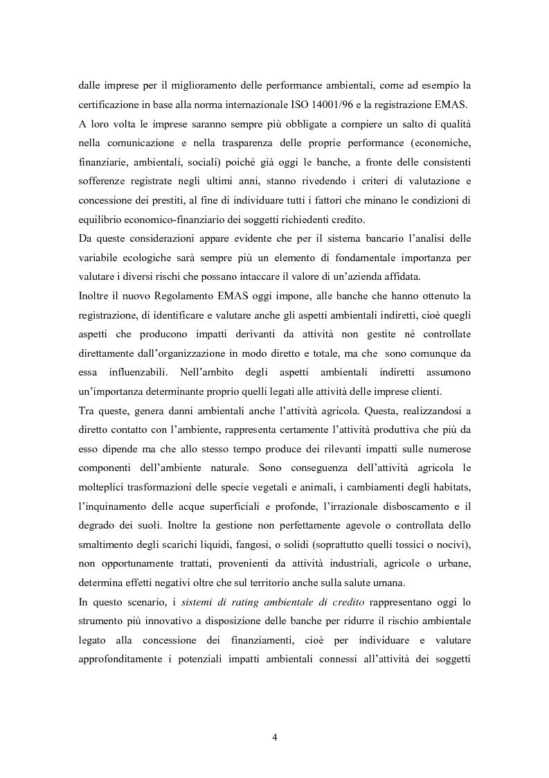 Anteprima della tesi: Rating ambientale di credito. Nuovi strumenti per misurare il rischio ambientale d'impresa nelle istruttorie di fido alla luce del Nuovo accordo di Basilea, Pagina 2