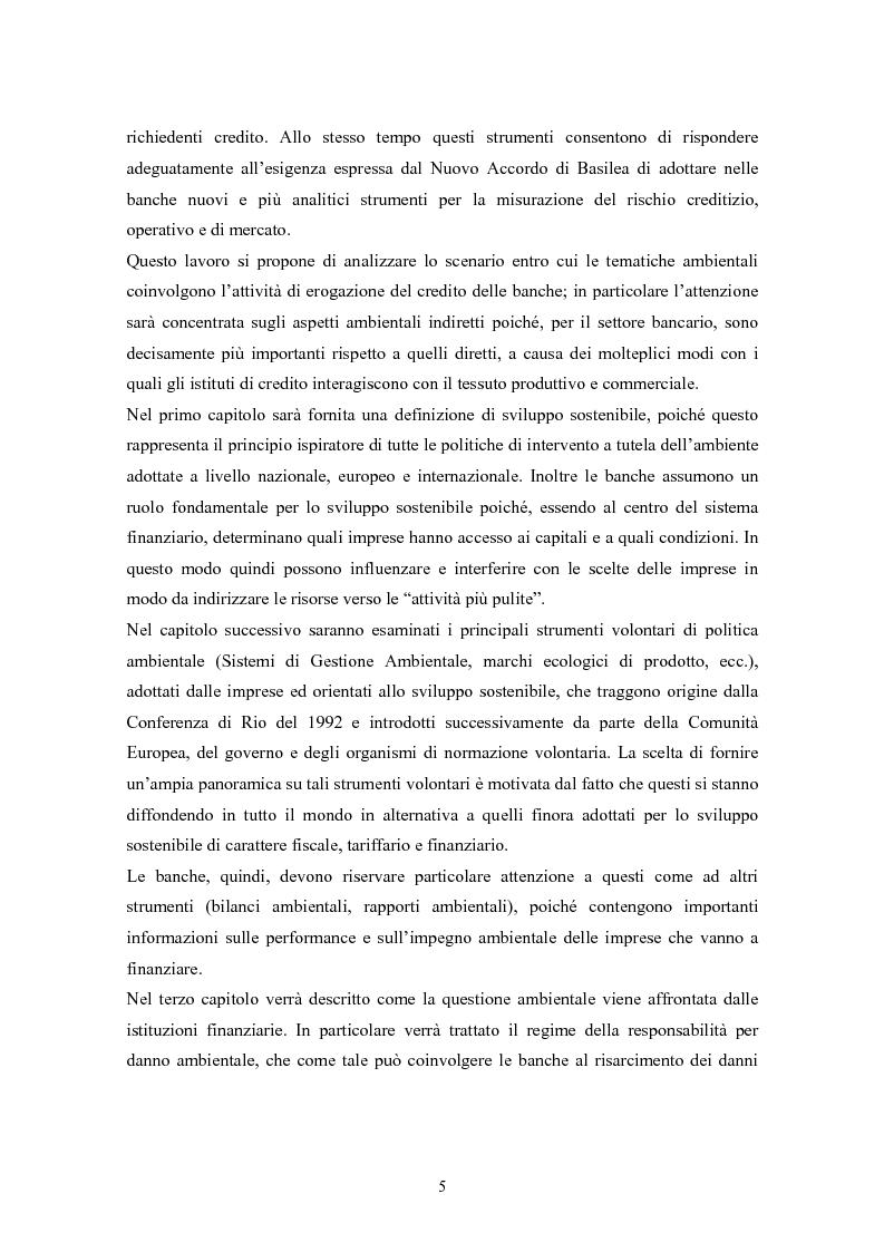 Anteprima della tesi: Rating ambientale di credito. Nuovi strumenti per misurare il rischio ambientale d'impresa nelle istruttorie di fido alla luce del Nuovo accordo di Basilea, Pagina 3