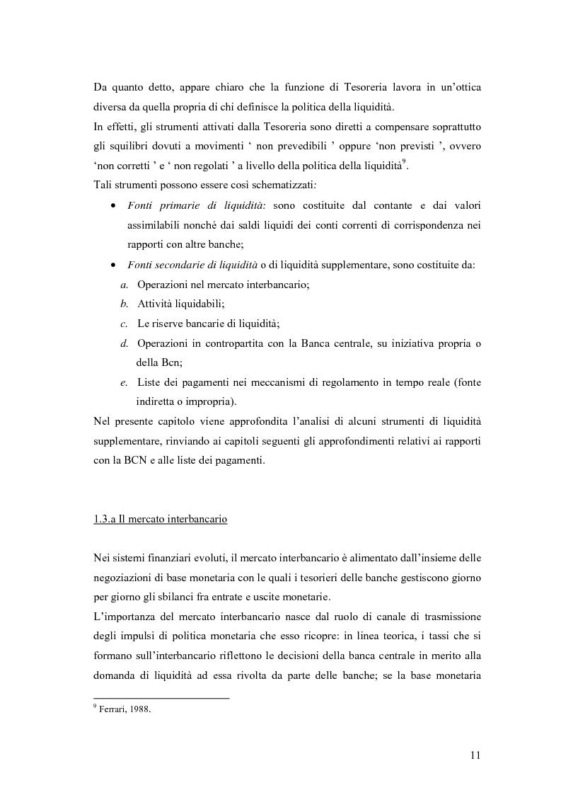 Anteprima della tesi: Modelli matematici per la gestione della liquidità di breve periodo nelle aziende di credito, Pagina 11