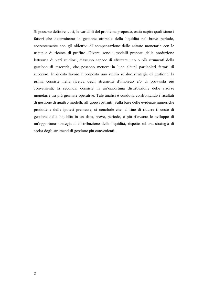 Anteprima della tesi: Modelli matematici per la gestione della liquidità di breve periodo nelle aziende di credito, Pagina 2