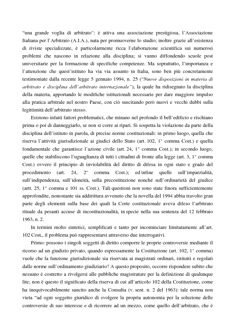 Anteprima della tesi: Arbitrato e funzione giurisdizionale, Pagina 5