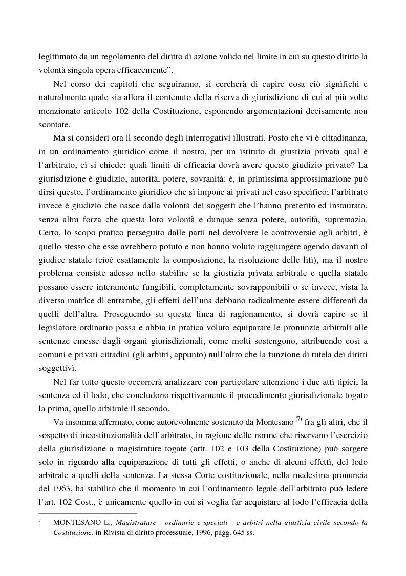 Anteprima della tesi: Arbitrato e funzione giurisdizionale, Pagina 6
