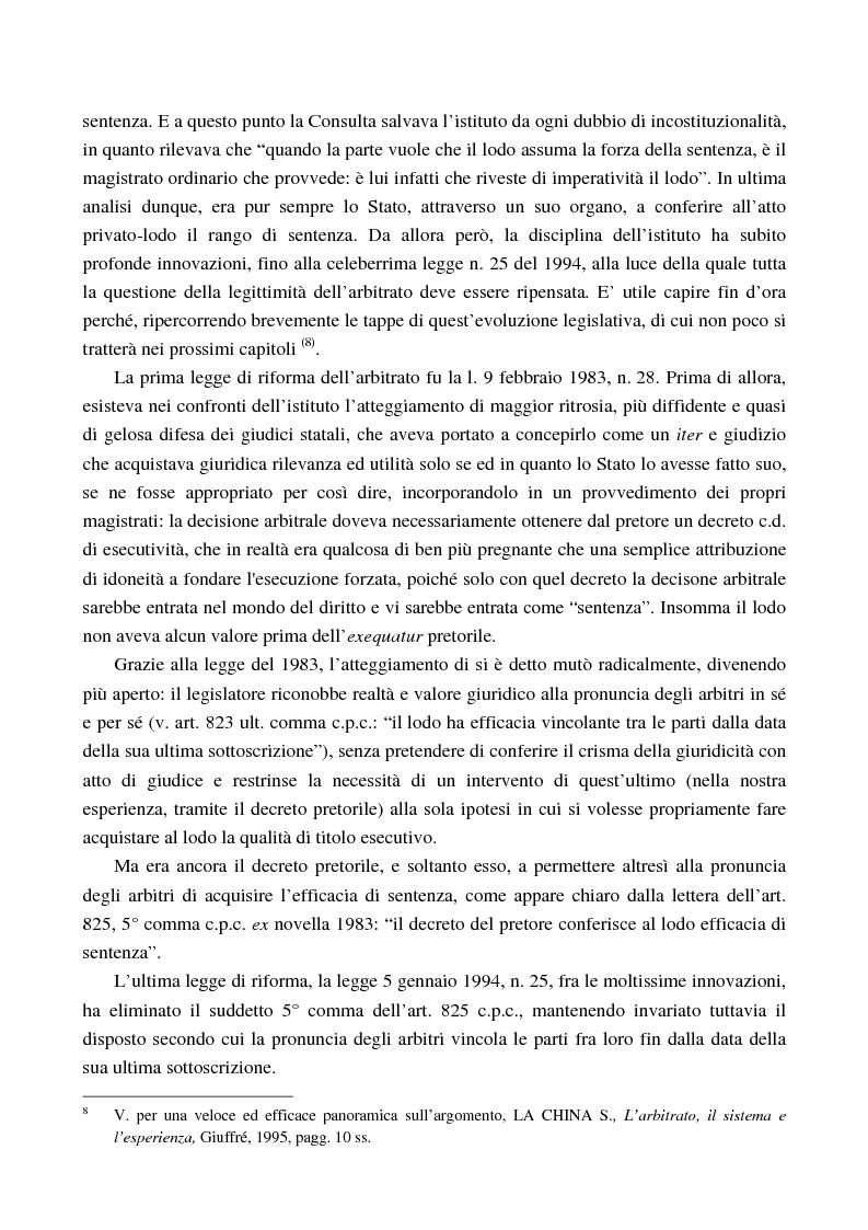 Anteprima della tesi: Arbitrato e funzione giurisdizionale, Pagina 7