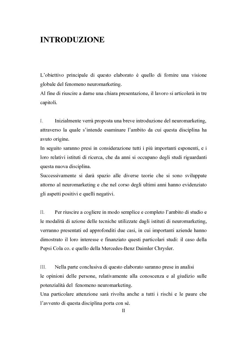 Anteprima della tesi: Il fenomeno neuromarketing: posizioni a confronto e sviluppi recenti., Pagina 1