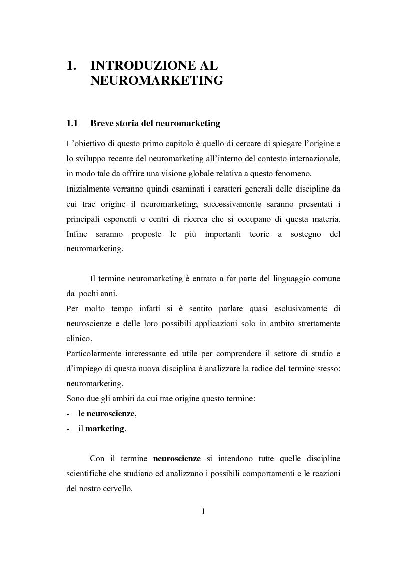 Anteprima della tesi: Il fenomeno neuromarketing: posizioni a confronto e sviluppi recenti., Pagina 3