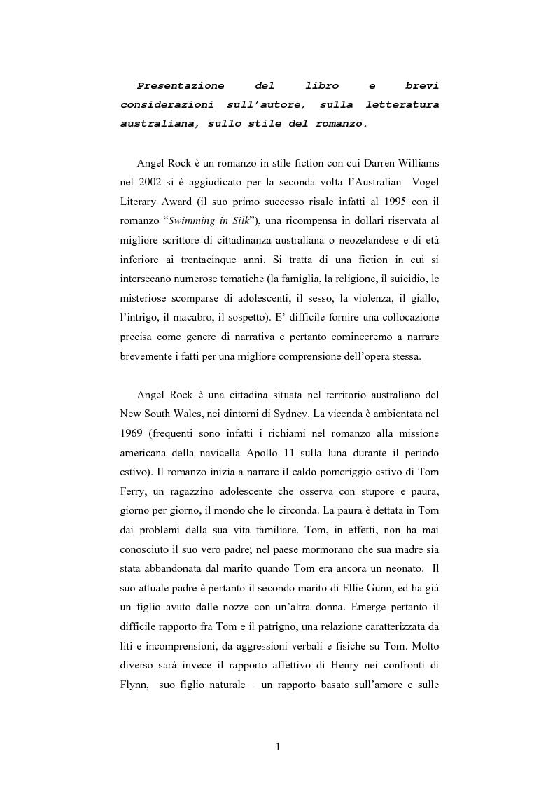 Anteprima della tesi: ''Angel Rock'' di Darren Williams. Traduzione e Analisi Stilistica., Pagina 1