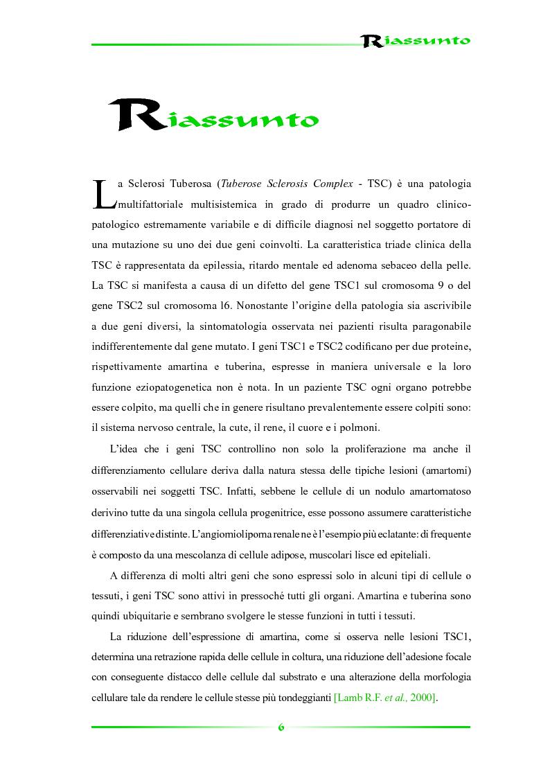 Anteprima della tesi: Espressione selettiva della survivina e sua regolazione nella Sclerosi Tuberosa, una patologia multisistemica, Pagina 1