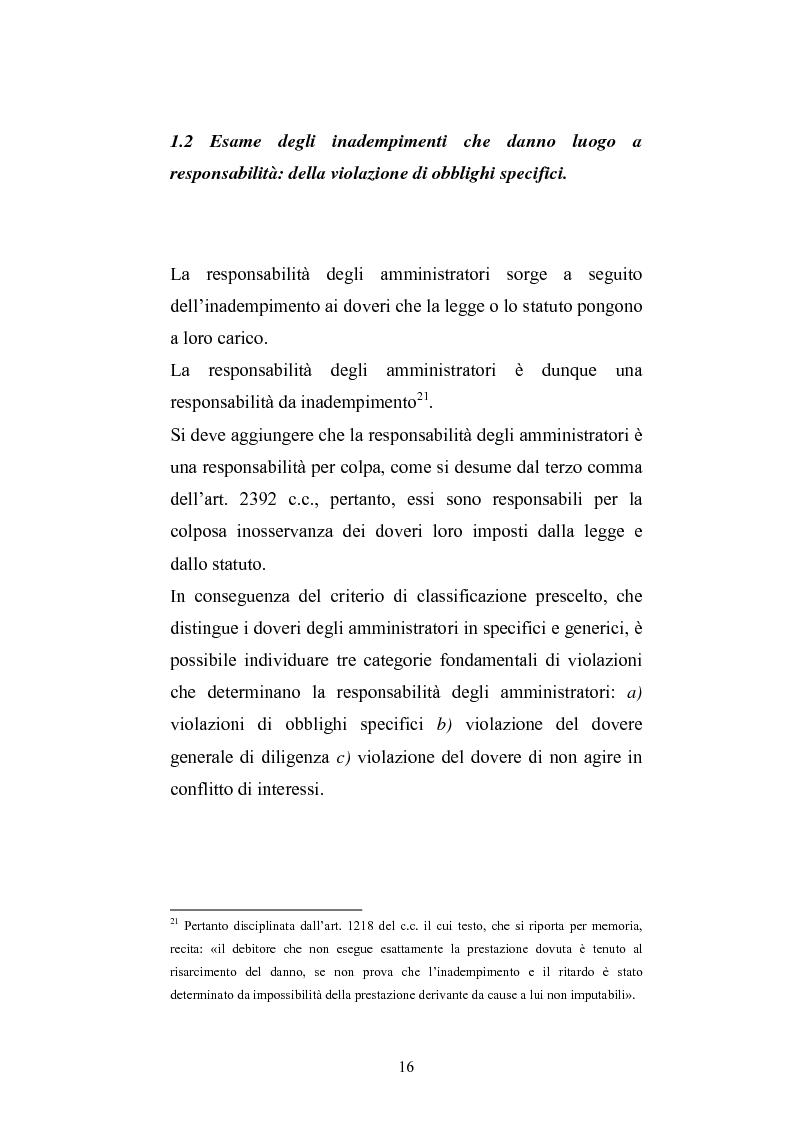 Anteprima della tesi: La responsabilità sociale degli amministratori di s.p.a. per l'attività di gestione, Pagina 14