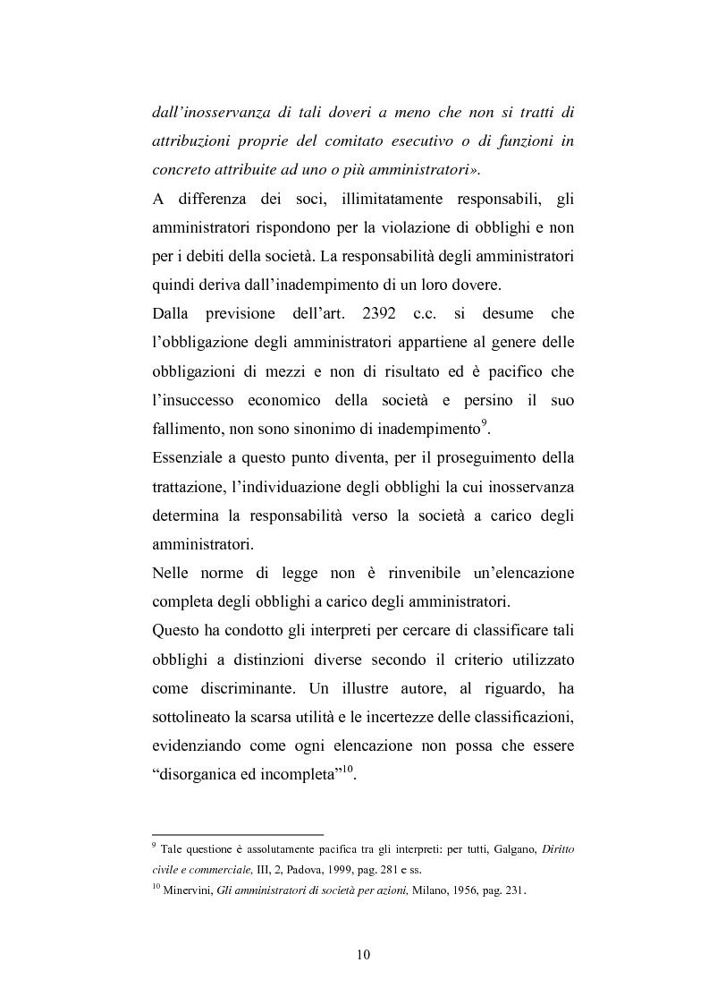 Anteprima della tesi: La responsabilità sociale degli amministratori di s.p.a. per l'attività di gestione, Pagina 8