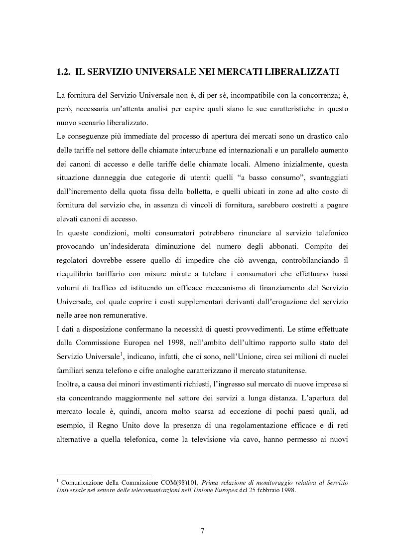 Anteprima della tesi: Il Servizio Universale nelle telecomunicazioni, Pagina 3