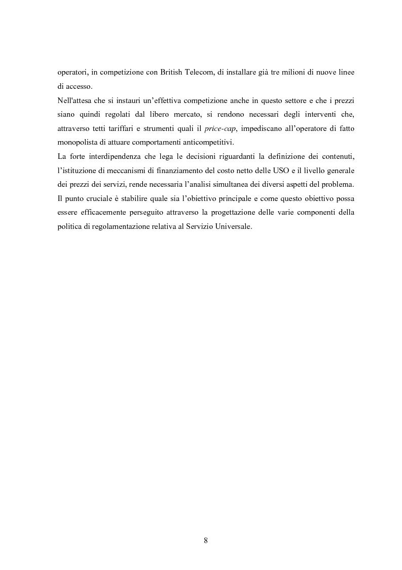 Anteprima della tesi: Il Servizio Universale nelle telecomunicazioni, Pagina 4