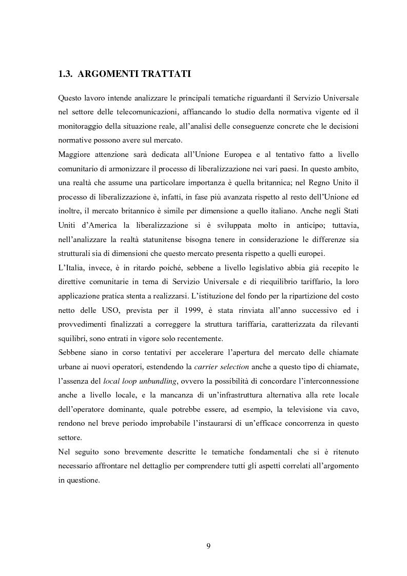 Anteprima della tesi: Il Servizio Universale nelle telecomunicazioni, Pagina 5
