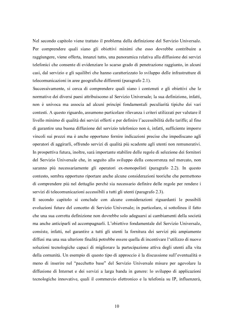 Anteprima della tesi: Il Servizio Universale nelle telecomunicazioni, Pagina 6