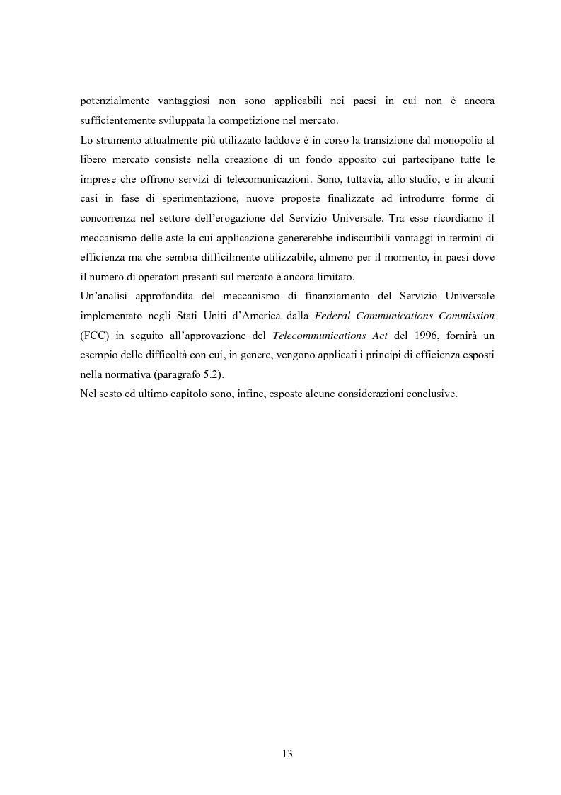 Anteprima della tesi: Il Servizio Universale nelle telecomunicazioni, Pagina 9