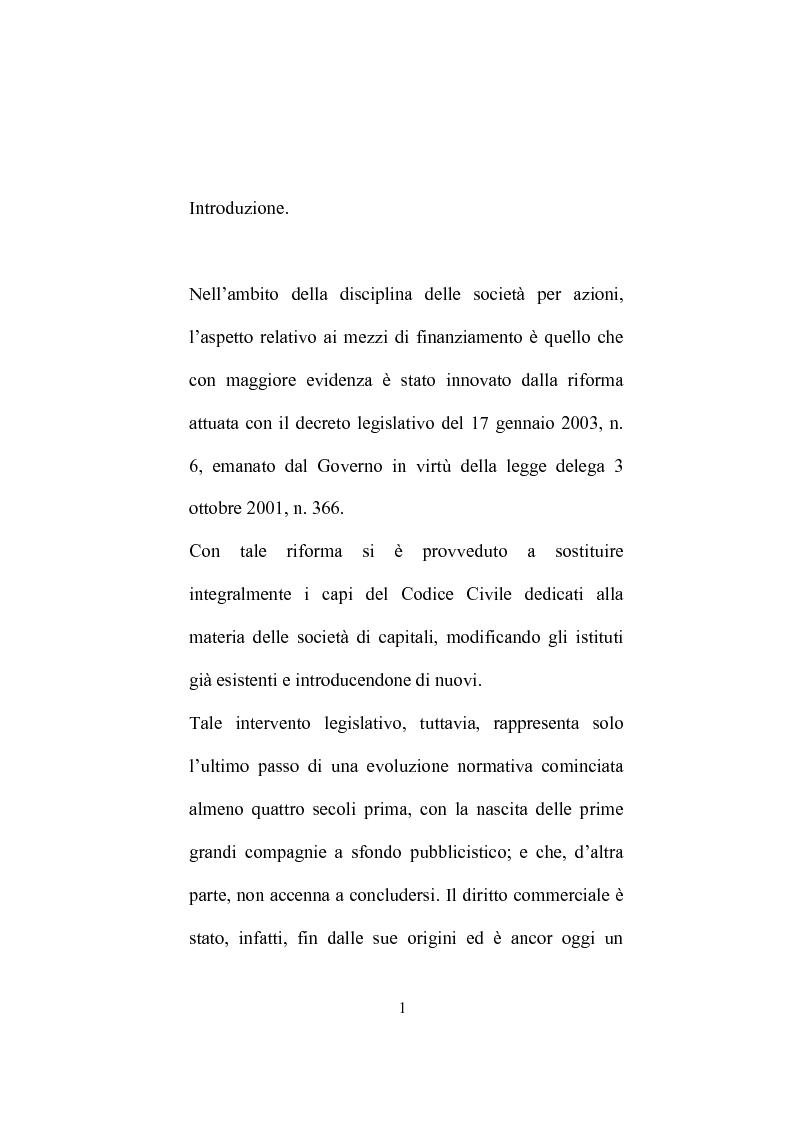 Anteprima della tesi: I mezzi di finanziamento delle società per azioni. evoluzione storica e novità del D.lgs de 17 gennaio 2003 n° 6, Pagina 1