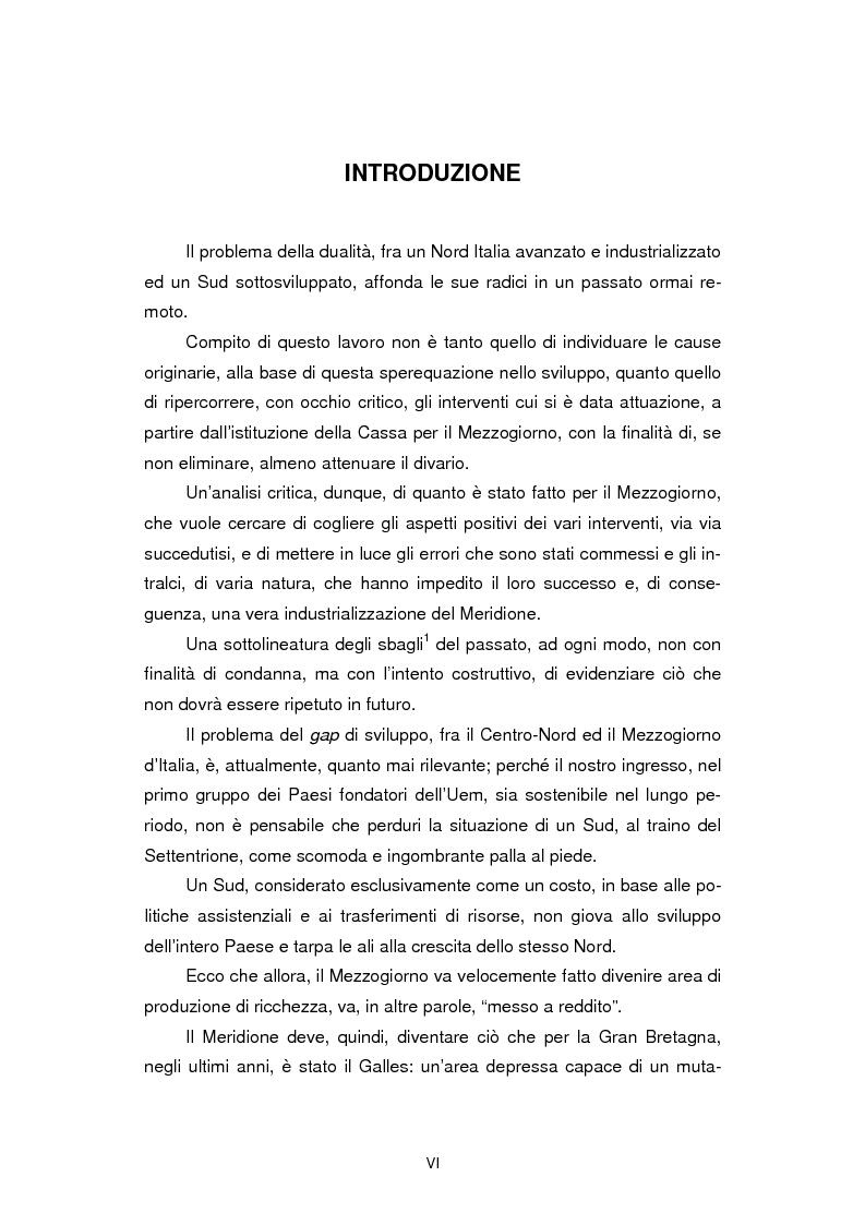 Anteprima della tesi: La politica strutturale nel Mezzogiorno: un'analisi critica, Pagina 1