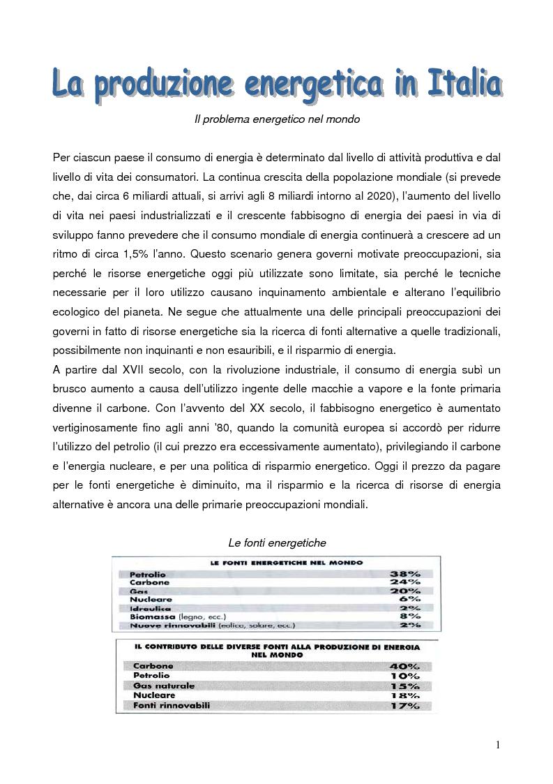 Anteprima della tesi: La Produzione energetica in Italia, Pagina 1