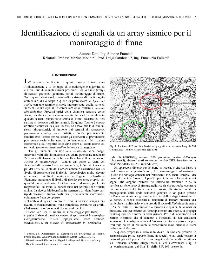 Anteprima della tesi: Identificazione di segnali da un array sismico per il monitoraggio di frane, Pagina 1