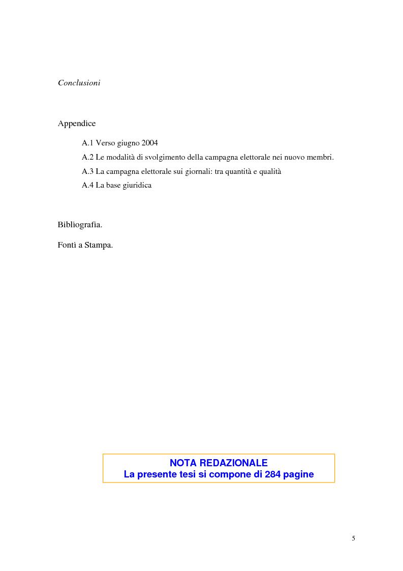 Indice della tesi: Le elezioni europee in Italia (1994-1999), Pagina 3