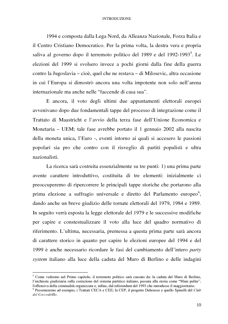 Anteprima della tesi: Le elezioni europee in Italia (1994-1999), Pagina 4