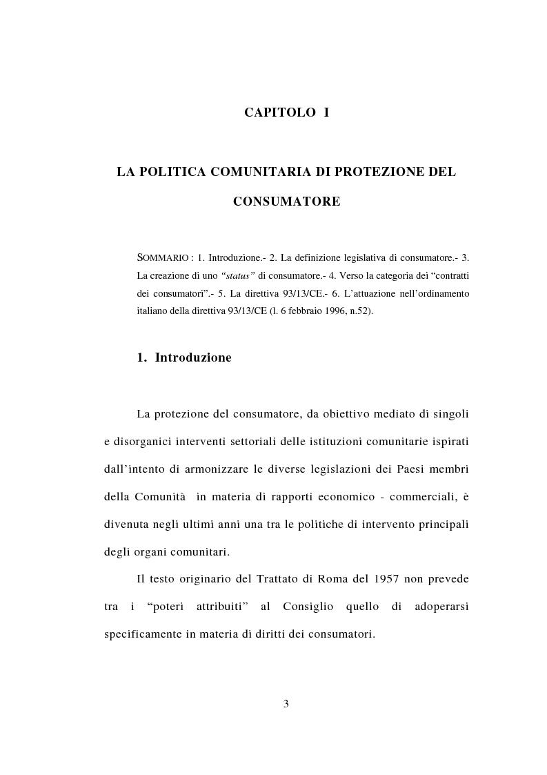 Anteprima della tesi: Contrattazione standard e tutela del consumatore, Pagina 1