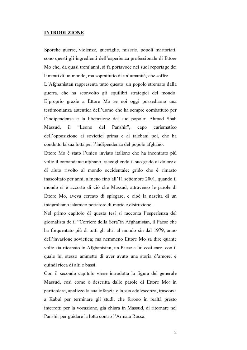 Anteprima della tesi: MASSUD di Ettore Mo. Vita, imprese e morte del ''Leone del Panshir'' Ahmad Shah Massud nelle corrispondenze dell'inviato del ''Corriere della sera'' Ettore Mo, Pagina 1